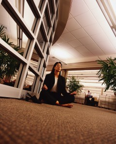 Office Worker Meditating at Work